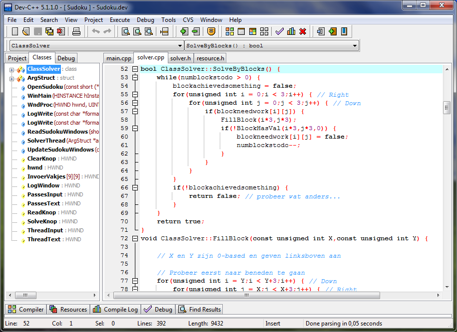 Dev C++ programa